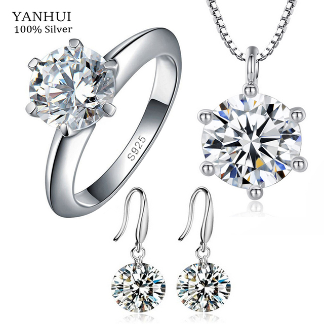 YANHUI Luxury Solid 925 Silver Jewelry Sets For Women 2 Carat CZ Diamond Ring Necklace Earrings Silver Bridal Jewelry Sets HS003