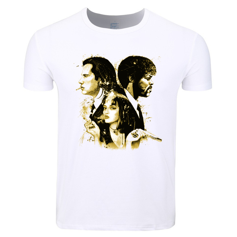 Asian Size Men And Women Print Pulp Fiction T-shirt O-Neck Short Sleeve Summer Casual TV&Movie Polyester T-shirt HCP4419