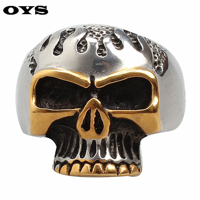 Wholesale 316L Stainless Steel High Quality Ring Cool Biker Flame Skull Heavy Metal Punk Fashion Jewelry Silver Gold Ring