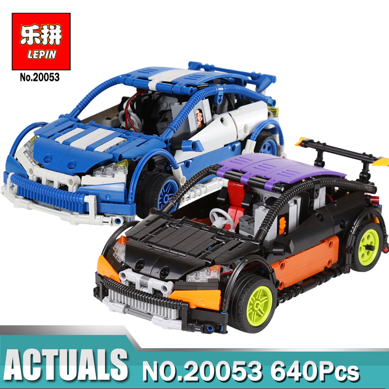 Lepin 20053 640pcs Black/Blue Technic Series Hatchback Type Remote Control RC Car MOC-6604 Building Block Brick Toy for Boy technican technic 2 4ghz radio remote control flatbed trailer moc building block truck model brick educational rc toy with light