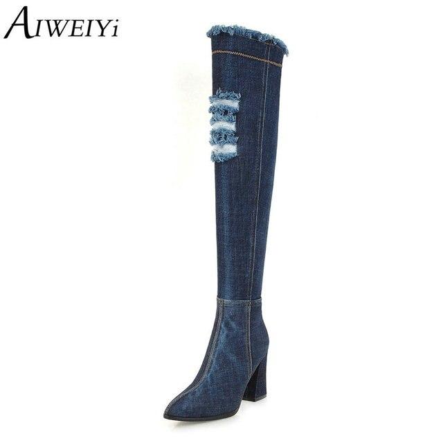AIWEIYi Kadınlar için Diz Çizmeler üzerinde Denim Cilt Kare Topuk Yüksek Topuklu Temel Ayakkabı Sivri Burun Kısa Peluş Kış çizmeler