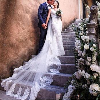967e7f6c6e 3 M boda velo una capa borde encaje Catedral velos De novia con peine gasa  matrimonio largo accesorio De matrimonio