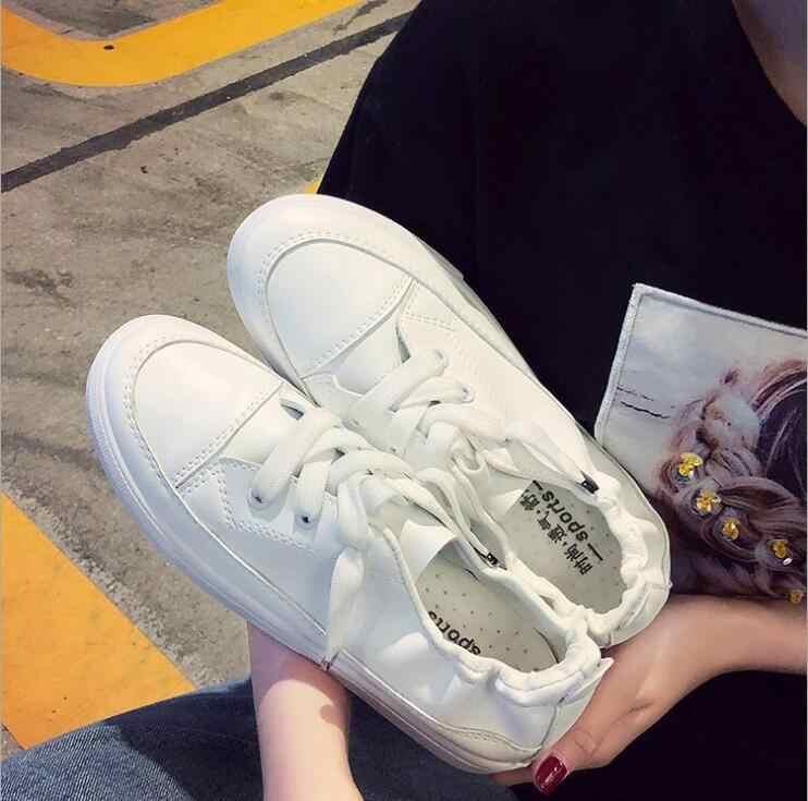 2019 Lente Herfst Klassieke Vrouwelijke Witte Sneakers Vrouwen Casual Schoenen Zomer Lace-Up Platte Trainers Mode Dames Schoeisel