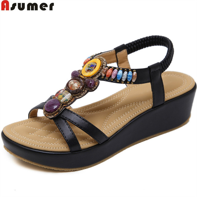 ASUMER black apricot fashion summer shoes woman platform wedges shoes casual comfortable 2018 new sandals women
