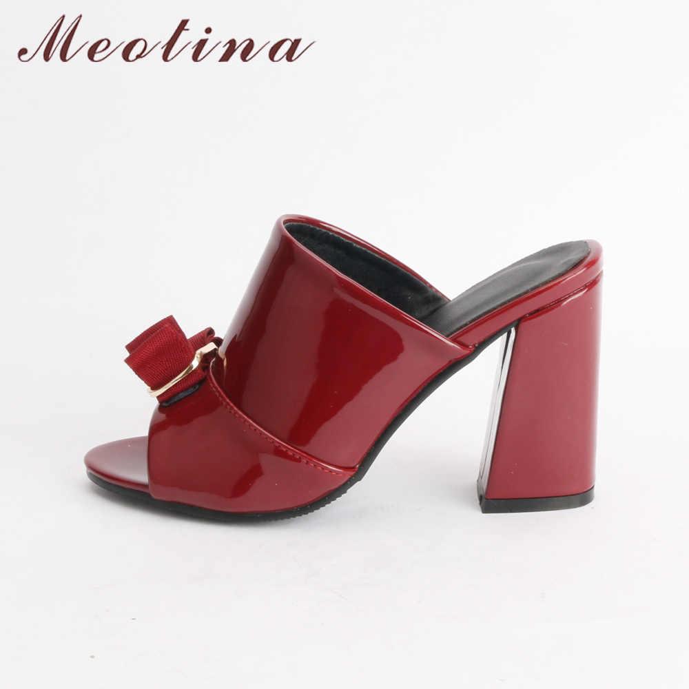 Meotina/Женская обувь летние женские Вечерние туфли на высоком каблуке с открытым носком женские шлепанцы с бантиком на блочном каблуке уличные красные, черные Большие размеры 34-43
