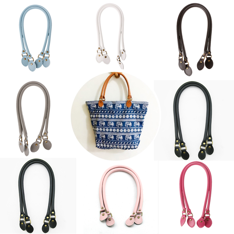 2PCS Bag Strap Genuine Leather DIY Handmade Handles For Crossbody Replacement Shoulder Handbag Wallet Handle 40cm