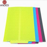 43 33CM Rectangle Dish Drying Mat Premium Heat Resistant Silicone Pad Antibacterial Dishwaser Safe Kitchen Accessories