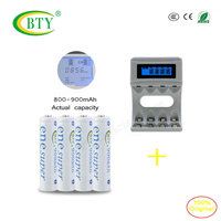 4 Pack BTY AAA900Mah Ni MH High Capacity Rechargeable Batteries C704A4 AA AAA Smart Charger Micro