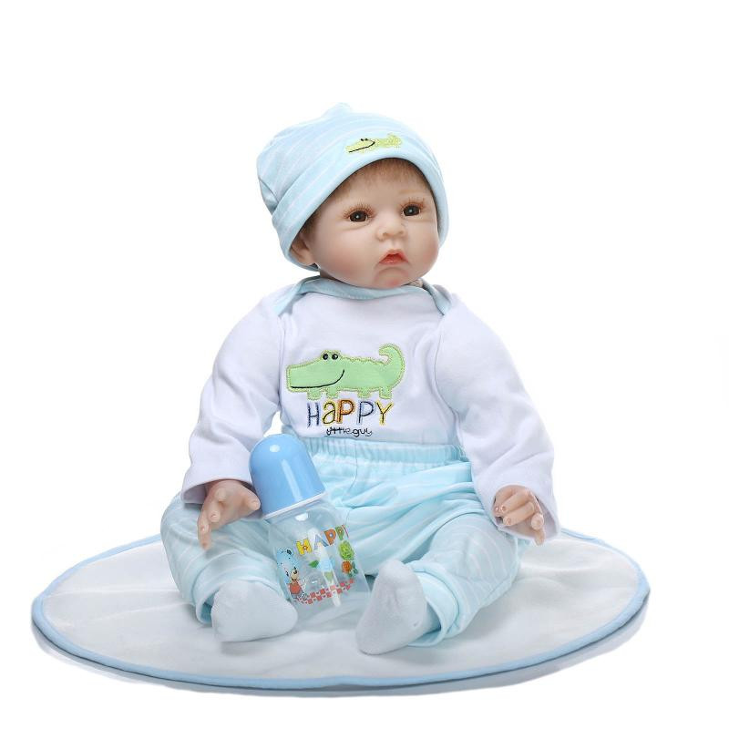 Fashion Newborn Babies 22 Inch 55 CM NPK Collection Reborn Baby Doll With Blue Clothes Realistic