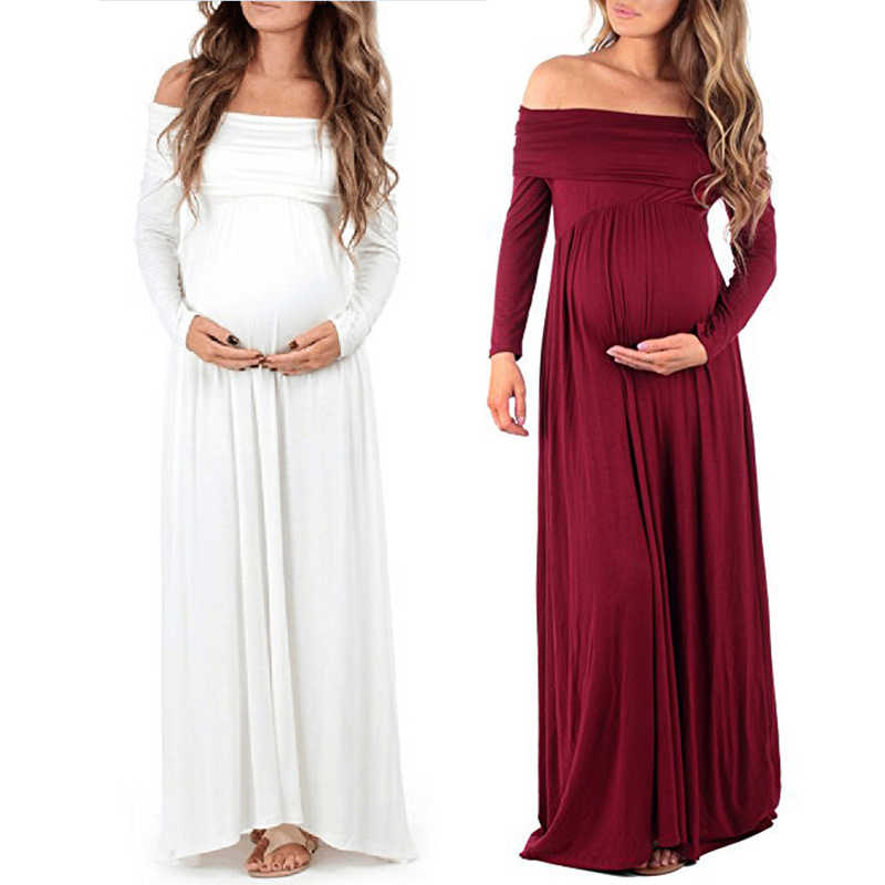2018 Maternity Dress For Photo Shoot Bohemian Style Maternity photography props dress Shoulderless Summer pregnant dress S-XL