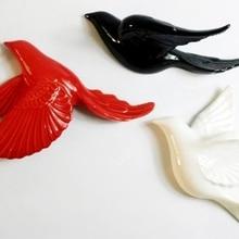 Creative ceramic wall hanging stereo jewelry hotel sample room soft decoration bird