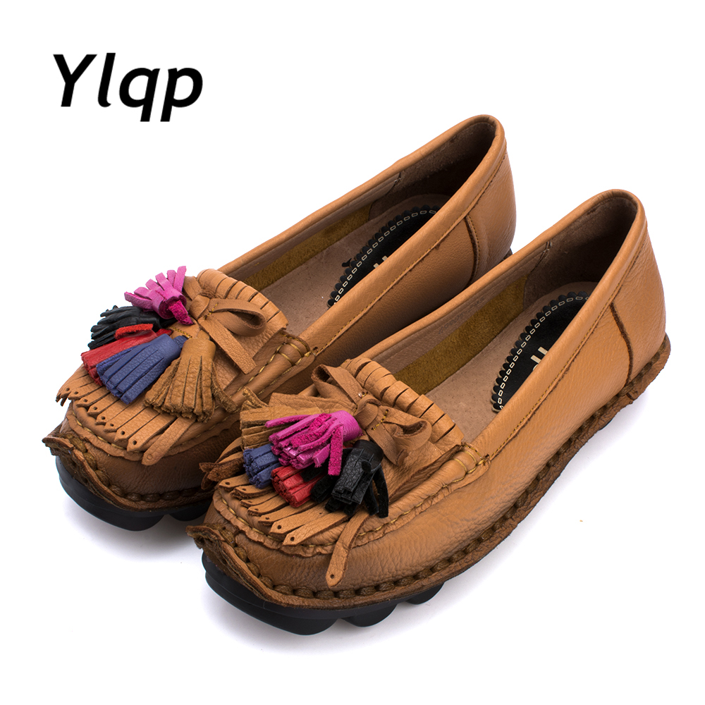 Women Flats 2017 New Fashion Genuine Leather Flat Shoes Sewing Ladies Tassel Design Soft Outsole Casual Shoes Women Loafers 2016 new fashion camellia women genuine full grain leather flat heel single shoes ladies working leather flowers ballet flats