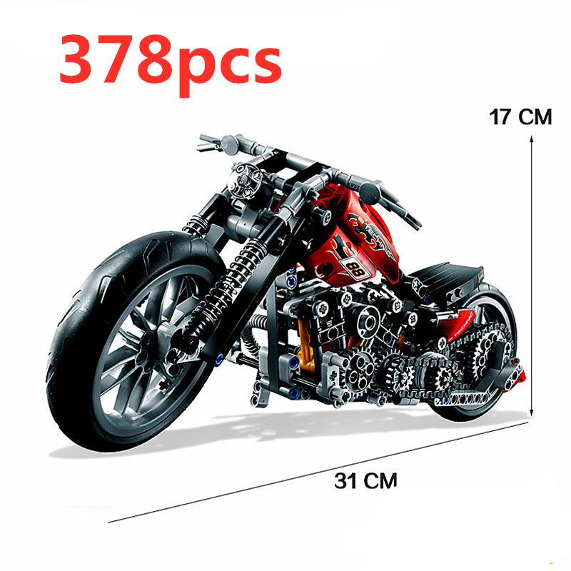 Compatible Toyedtechnic Motorcycle Moto Motor Racing Motorbike Sets Building Blocks Models Kits Children Brick Kid Toys Halle
