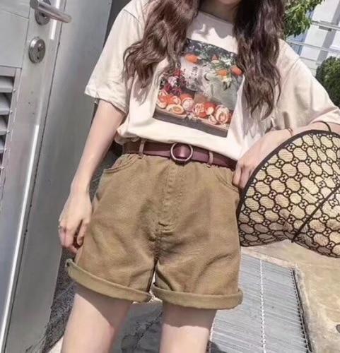 2019 été mode coréenne lâche Vintage imprimé chemises lavé coton Shorts 2 pièce ensemble femmes Preppy Style femme ensembles vêtements