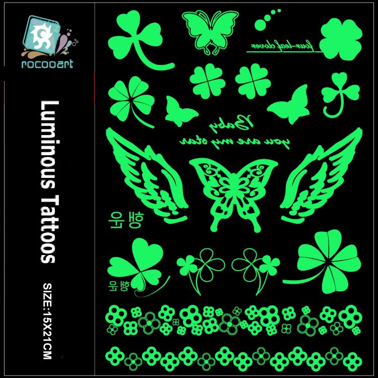 Rocooart Butterfly Luminous Fake Tattoo Wings Flash Taty Anchor Tatouage Glowing In Dark Waterproof Temporary Tatoo Sticker Body
