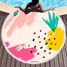 Watercolor Round Beach Towels Abstract Pineapple Watermelon Light Pink Microfiber Beach Towel Adults Yoga Blanket Mat Towel Bath watermelon beach towel with microfiber tassel