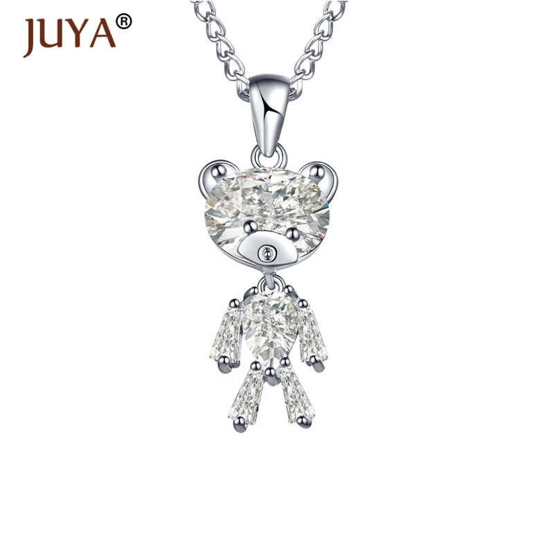 Fashion Necklaces & Pendants necklace pendant watch Fashion 925Sterling Solid Silver Jewelry Crystal Bear Pendants Necklace N563