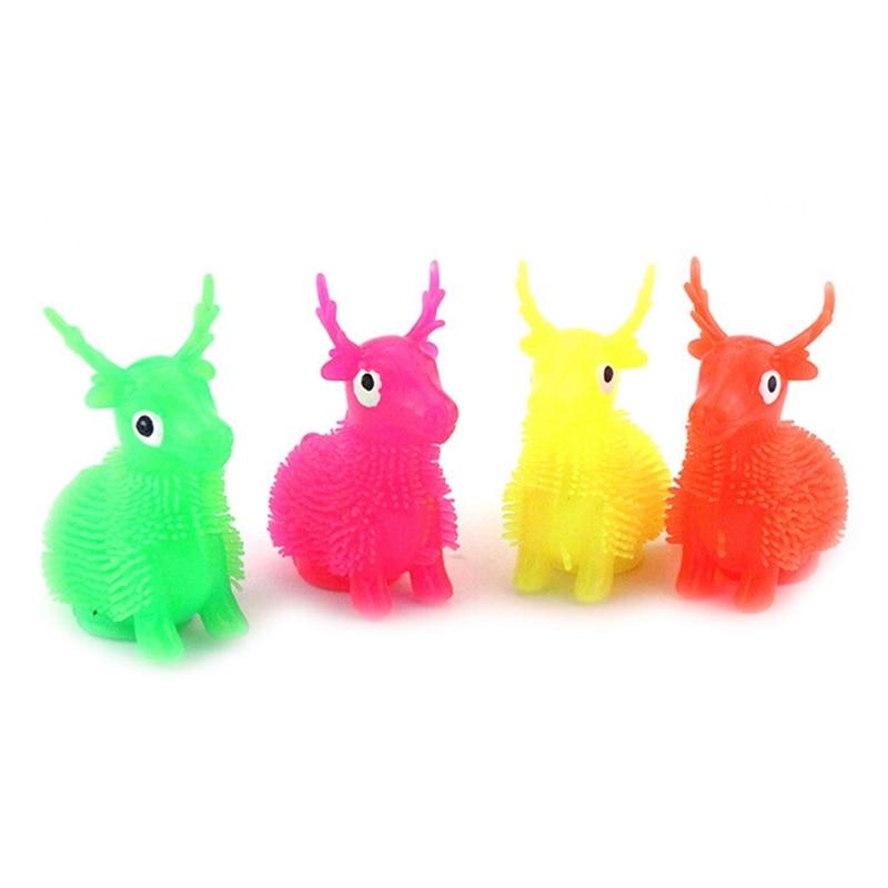 1Pcs LED Light Squeeze Anti Stress Toys Autism Flush Sika deer Flash Ball Elasticity Funny Toys For Children Luminous Toys