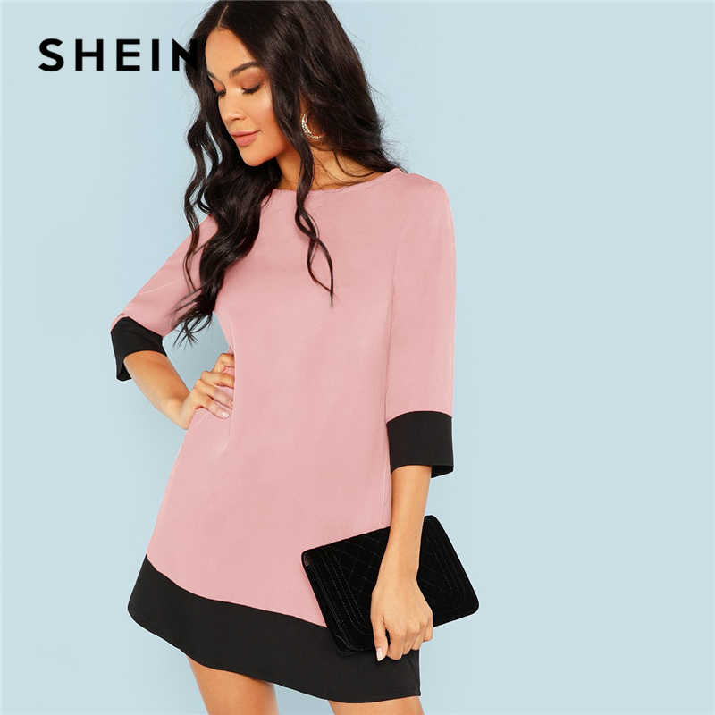SHEIN Pink Office Lady Colorblock Contrast Trim Tunic O-Neck 3/4 Sleeve Straight Dress Autumn Workwear Elegant Women Dresses