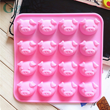 16 Holes Pig Shape Chocolate Mold Lovely Cake Decoration Silicone Jelly Candy Ice Mold Mould DIY Baking Tools Bakeware 1pc random color honey comb bees mold beeswax silicone pan cake mould ice jelly chocolate mold diy cake decoration ok 0975