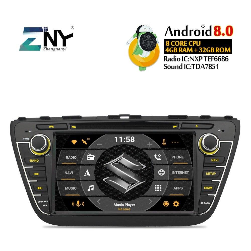 8 IPS Affichage Android 8.0 DVD De Voiture Pour Suzuki SX4 S-Croix 2014 2015 2016 Auto Radio Stéréo GPS Navigation Audio Vidéo De Sauvegarde Cam