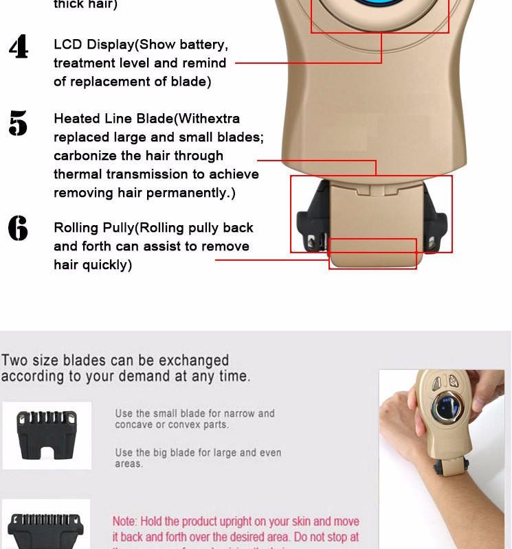 100V-240V LCD Electric Thermal Hair Removal Instrument Women\'s Epilator USB Charging7