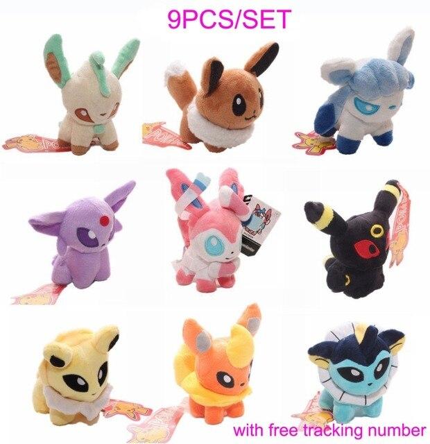 5'' Set of 9 Pcs Pokemon Plush Toy Doll Eevee Travel Leafeon Umbreon Jolteon Sylveon
