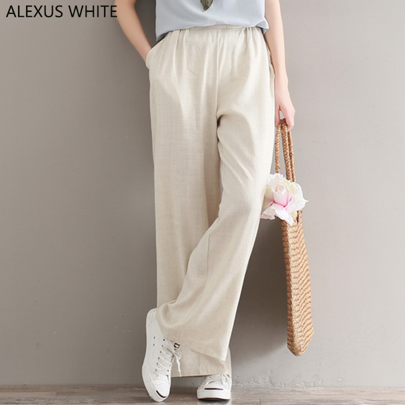Comfort Cotton Linen   Pants   Women 2018 Winter Ethnic Long Trousers Female Casual Loose   Wide     Leg     Pants   Solid Color