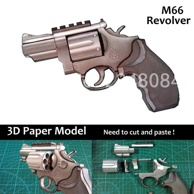 3d Paper Model 11 Smith Vicen M66 Revolver Boys Assembled Diy