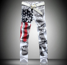 Новая Мода мужская Повседневная Брюки, высококачественный Эластичный мужская Большие джинсы размер, модные Летние мужские Белые Джинсы Размер: 28 38 40 42