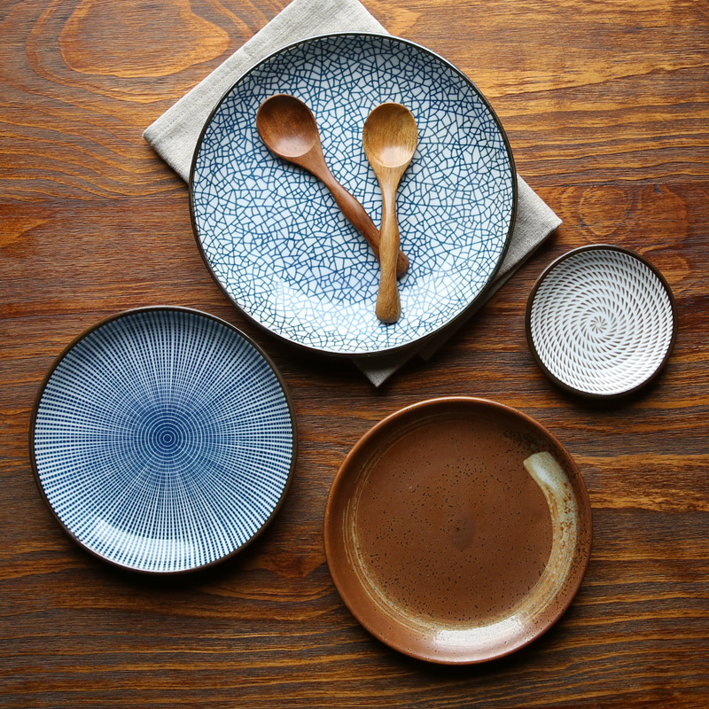 Guaranteed 100% Crackle glaze dinnerware sets Japanese ceramic tableware Painting ceramic dishes with Ring pattern-in Dishes u0026 Plates from Home u0026 Garden on ... & Guaranteed 100% Crackle glaze dinnerware sets Japanese ceramic ...