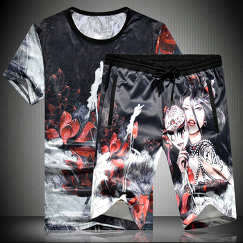 Chinese style creative personality 3D printing t shirt and shorts suit Summer 2018 New quality soft elastic men short sets M-5XL