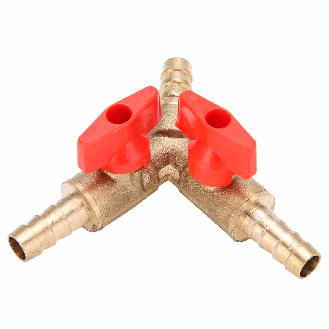5/16 8MM Brass Y 3-Way Shut Off Ball Valve Clamp Fitting Hose Barb Fuel Gas Water Oil For Garden Irrigation Automotive Mayitr