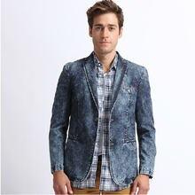 M-XXXL Mens Jeans Blazer Masculino Casual Mens Denim Blazer Masculino Brand Designs Men Denim Blaser Homme Plus Size A693