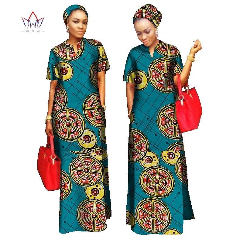2019 styles africains vêtements femmes Riche Bazin droit 100% coton matériel gratuit foulard dame longue robe Maxi taille WY843