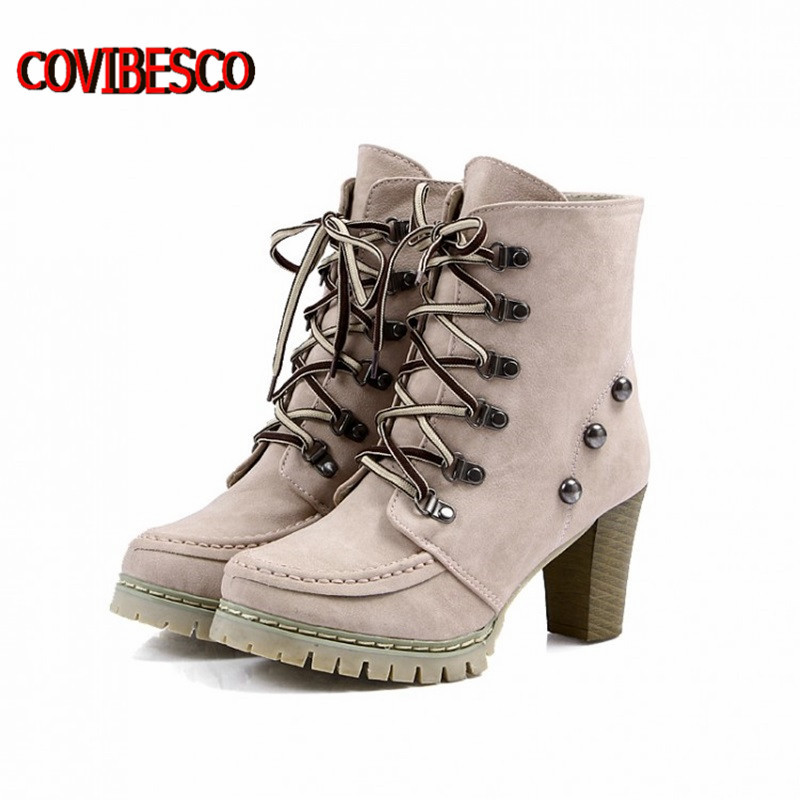ФОТО Big size  fashion sexy knight female ladies high heel platform high heel ankle boots for women autumn winter shoes free shipping