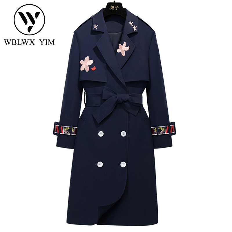Outerwear Trench-Coat Women Embroidery Female Slim Autumn Double-Breasted Fashion-Design
