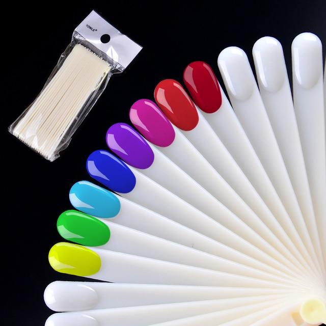 20pcs Set Nail Polish Uv Gel Color Palette Card Display Fan Shaped Natural False