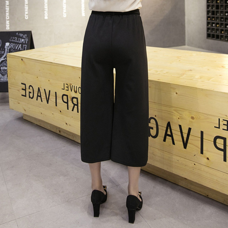 Korean Style Women Elastic Waist   Wide     Leg     Pants   Straight Casual Loose Trousers Black