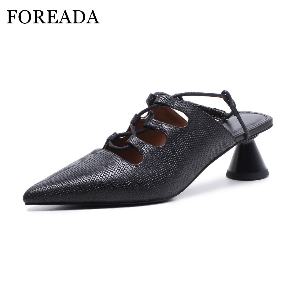 FOREADA Real Leather Shoes Sexy High Heels Women Pumps Slingbacks Pointed Toe Buckle Shoes Spring Genuine Leather Shoes Black foreada ballet flats shoes genuine leather women 2018 shoes ankle strap buckle flat black pointed toe casual shoes ladies spring