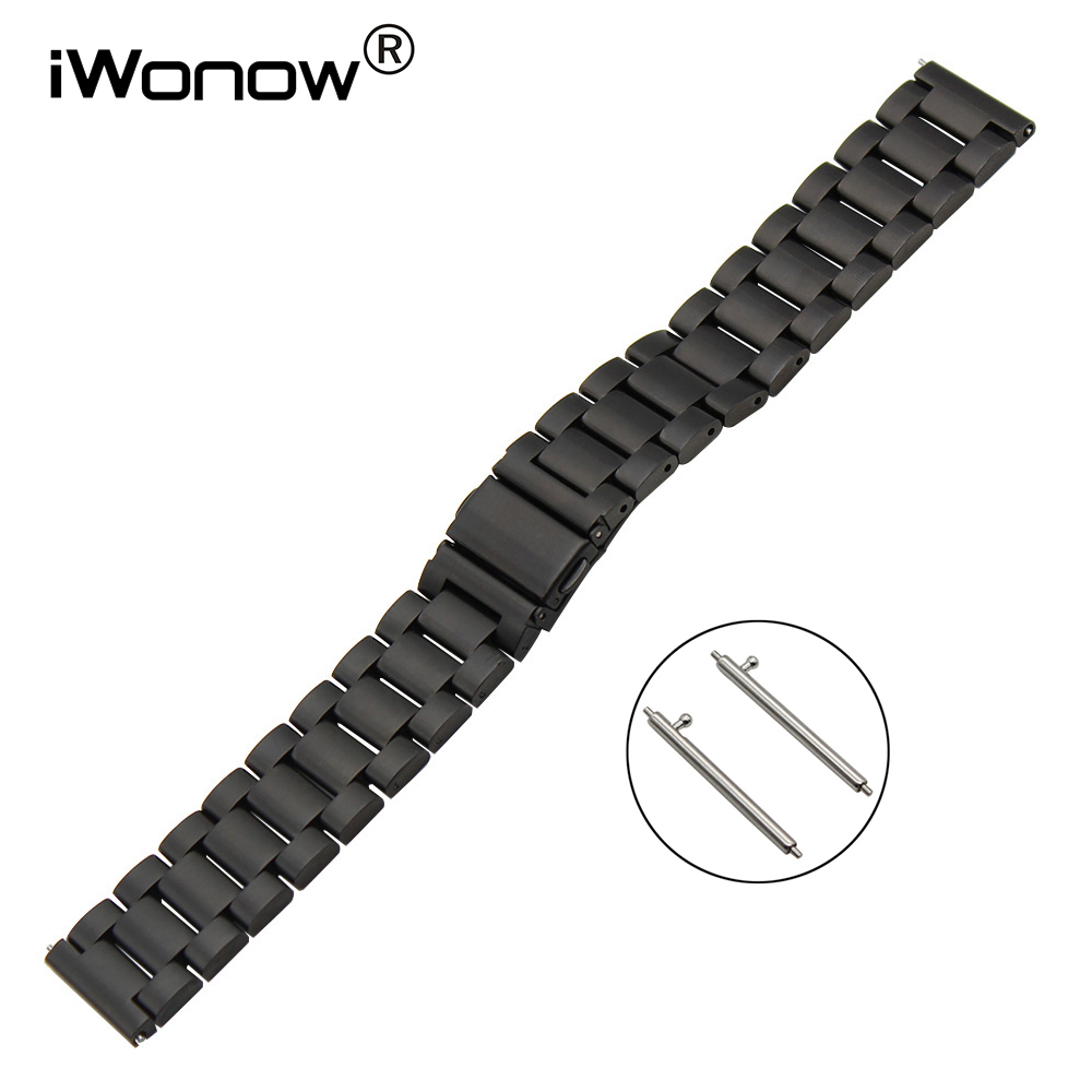 22mm Stainless Steel Watch Band Quick Release Strap for Gear 2 Neo Live Moto 360 2 46mm Pebble Time Amazfit Wrist Bracelet Black stylish 8 led blue light digit stainless steel bracelet wrist watch black 1 cr2016
