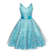 Newest Summer Kid Girls Princess Dresses Diamond Belt Sleeveless V-Neck Flower Lace Party Wedding Dress