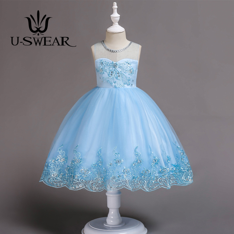 U-SWEAR 2019 New Arrival Kid   Flower     Girl     Dresses   O-neck Crystal Embroidery Sequined Beaded Lace   Flower     Girl   Ball Gown Vestidos