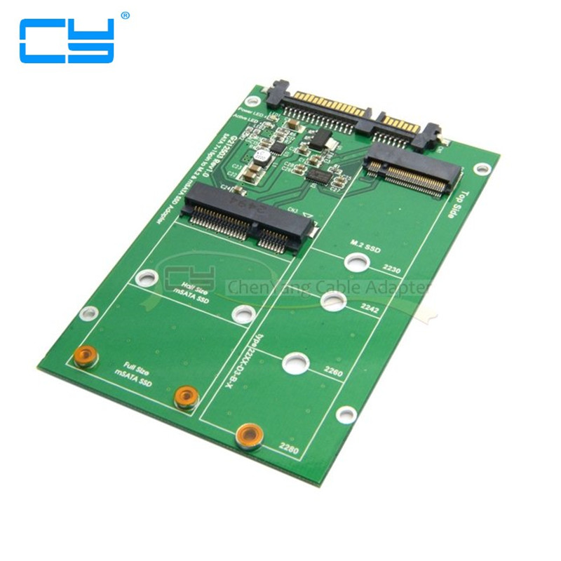 2 in 1 Combo Mini PCI- E 2 Lane M.2 NGFF & mSATA SSD to SATA 3.0 III Adapter Converter PCBA
