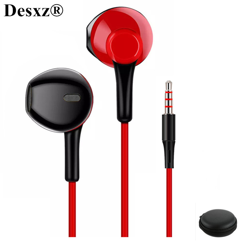 Desxz D3 Earphones Noise Canceling with Microphone Headsets Stereo Earbuds Comfortable for xiaomi iPhone 4 4s 5 5s apple airpods