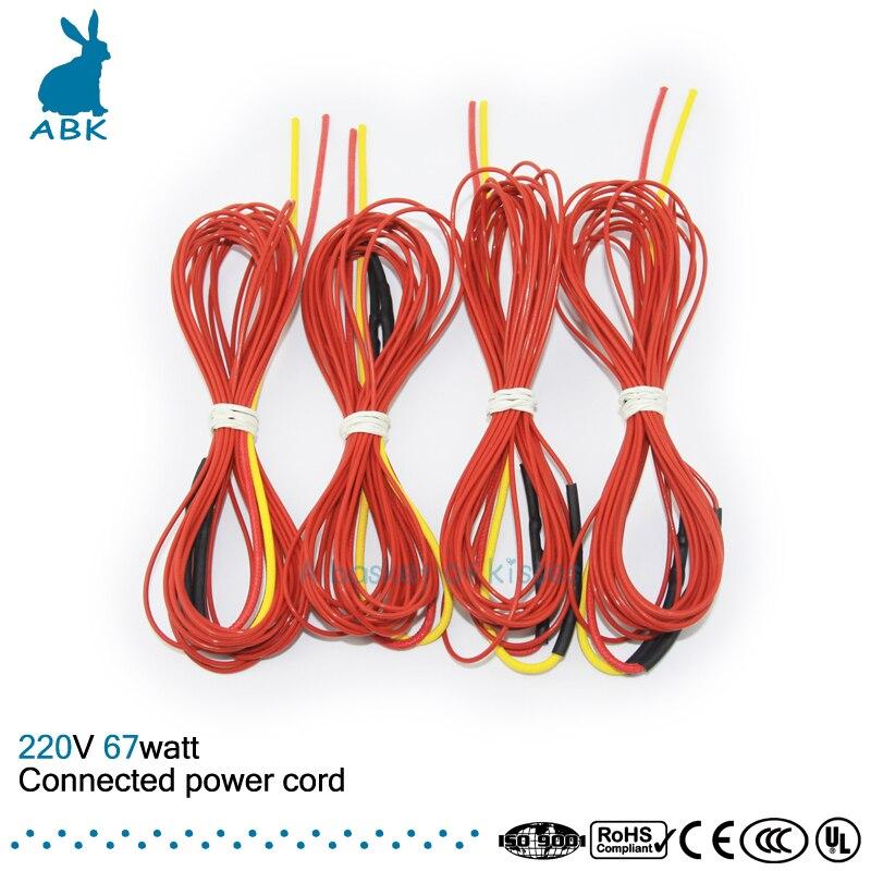 F3K 5 mètres 67 w 133ohm En fiber de Carbone chauffage fil PTFE Téflon connecté Puissance cordon fil chauffant câble Chauffant