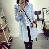 Blouses For Women Long Sleeve Shirt Ladies Tops Band Blue And Gray Vertical Striped Button High