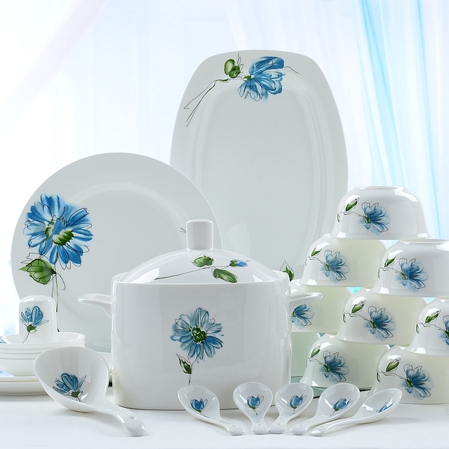 56piece Set, Bone China Dinnerware Set, Kitchen Accessories Dishes And  Plates Sets, Porcelain
