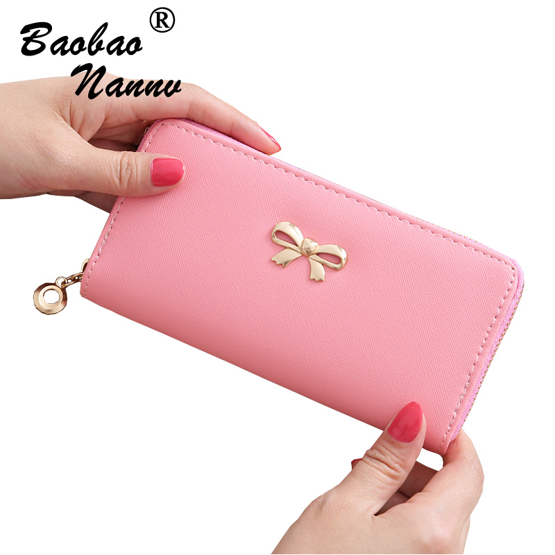 Women Wallets 2018 New Lovely Bow Solid Color Fashion Girls Female Change Clasp Purse Money Coin Card Holders Wallets Carteras 2017 hot sale lovely leather long women wallet fashion girls change clasp purse money coin card holders wallets carteras
