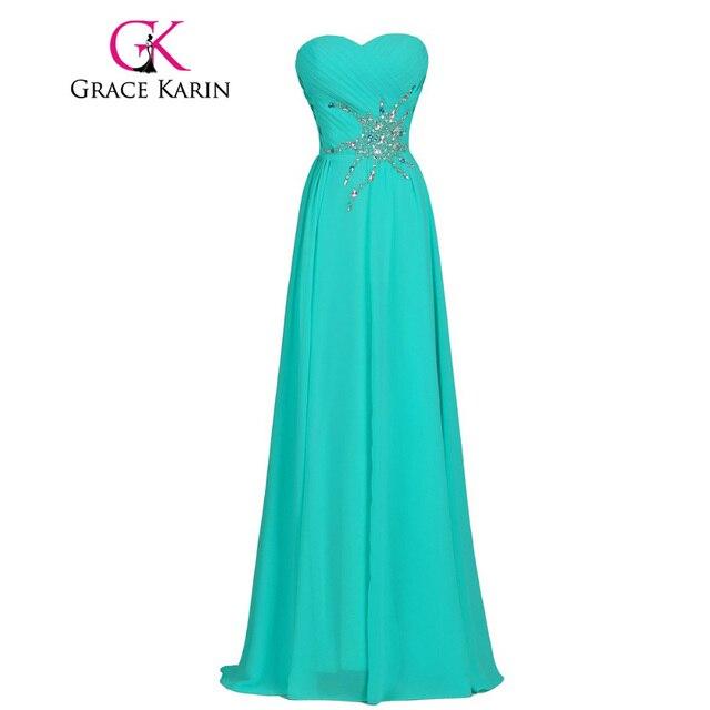 cf6fd7ae50da Grace karin eleganti vestiti lunghi da promenade mare verde chiaro chiffon  lungo abito del partito formal